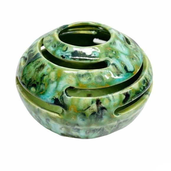 Vintage ceramic pansy pot vase candle holder marbled blue green black pottery